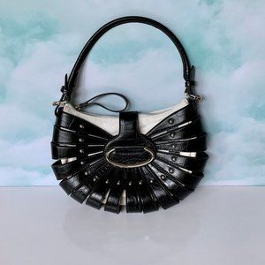 Amazing WHBM leather cage over white suede bag